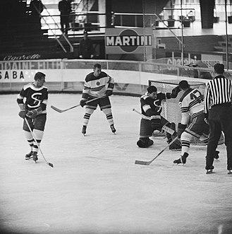1961 Ice Hockey World Championships - Nederlands vs Yugoslavia match. Yugoslavia won 9–2.