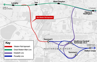 map showing route of proposed link to Heathrow