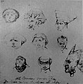 William Blake - 9 Grotesque or Demoniac Heads, Butlin 767 recto c 1819-20 183x188mm - F Bailey Vanderhoef Jr - Ojai California.jpg