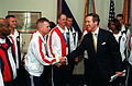 William Cohen congratulates military athletes, 2000.jpg