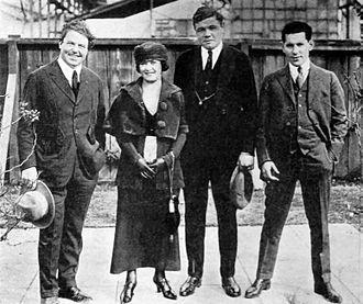 Sol M. Wurtzel - William Farnum, Helen and Babe Ruth and Wurtzel on the Fox Studios lot in Hollywood (1920)