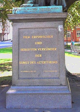Johann Joachim Winckelmann - pedestal of Winckelmann statue, Winckelmannplatz, Stendal, Germany