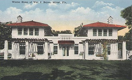 Villa Serena, Bryan's home built in 1913 at Miami, Florida Winter Home of Wm. J. Bryan, Miami, FL.jpg