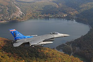 Devil's Lake (Wisconsin) - Wisconsin Air National Guard F-16 over Devil's Lake