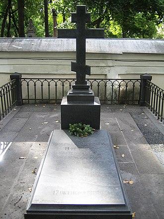 Christian burial - Grave of Alexander Nevsky Lavra, an Orthodox Christian in Lazarev Cemetery.