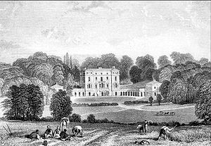 "Baron Baltimore - Woodcote Park seemingly sourced by Brayley from ""Views of the Seats of Noblemen and Gentlemen in England, Wales, Scotland and Ireland. L.P"", drawn by John Preston Neale in 1818. Part of series of six volumes published from 1819 to 1823"