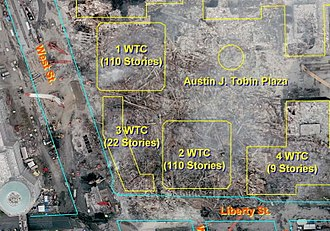 Collapse of the World Trade Center - Aerial view of the site after the collapse, with locations of the collapsed buildings outlined