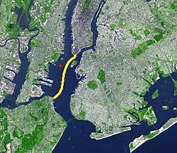 A map showing the route of the ferry through Upper New York Bay