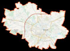 """Mapa konturowa Wrocławia, blisko centrum na prawo znajduje się punkt z opisem """"Dolnośląska Biblioteka Publiczna im. Tadeusza Mikulskiego we Wrocławiu"""""""