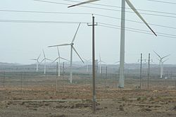 Xingquanbao, more than 100 wind turbines wind farm on Jingtai County