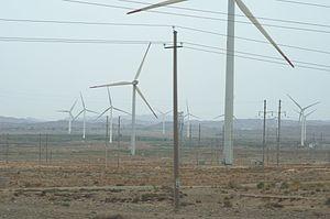 Jingtai County - Xingquanbao, more than 100 wind turbines wind farm on Jingtai County