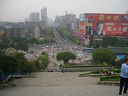 Looking down one of Yichang's main streets