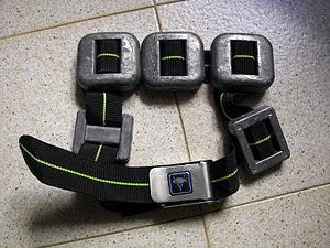 Diving weighting system - Scuba weight-belt with quick-release buckle
