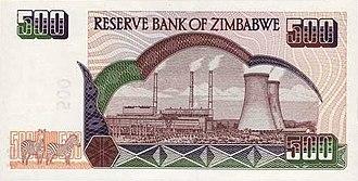Dollar - 500 old Zimbabwean dollar bill of the first Zimbabwean dollar