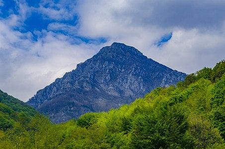 The peak Čiči Kaja (1,767 m) on the Kožuf mountain as seen from Smrdliva Voda, Macedonia