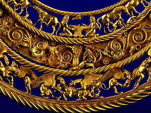 Scythian art - Gold Scythian pectoral, or neckpiece, from a royal kurgan in Tolstaya Mogila, Pokrov, Ukraine, dated to the second half of the 4th century BC.