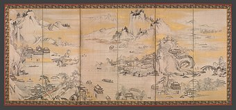 金山西湖図屏風-Jinshan Island and West Lake MET DP704869.jpg