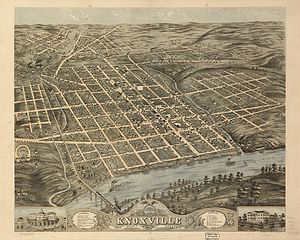National Register of Historic Places listings in Knox County, Tennessee - 1871 Rendering of Knoxville, looking to the north-northwest