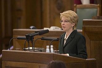 Speaker of the Saeima - Ināra Mūrniece in 2014.