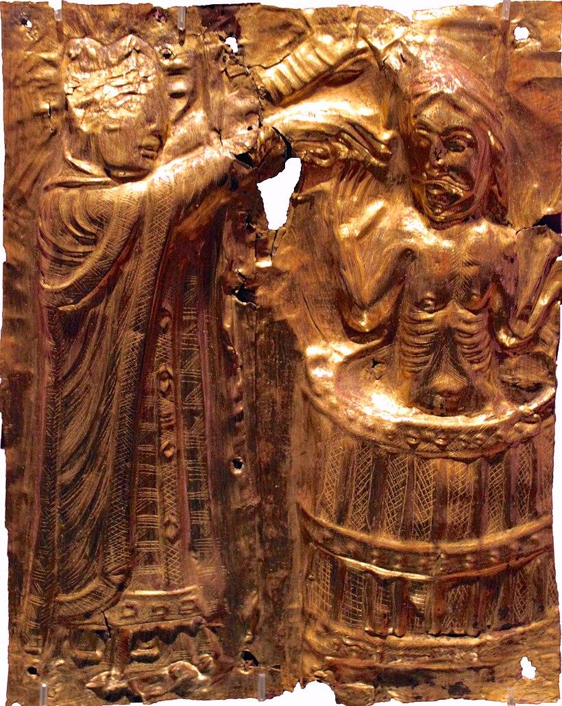 Harald Blåtand døbes af missionæren Poppo fra ca. 1200. Af https://da.wikipedia.org/wiki/Harald_Bl%C3%A5tand#/media/File:1200_Harald_Bl%C3%A5tand_anagoria.jpg