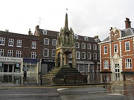 Market Cross in het centrum van Leighton Buzzard (15e eeuw)
