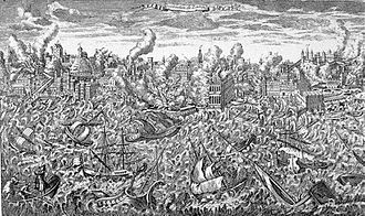 1755 Lisbon earthquake - 1755 copper engraving showing Lisbon in flames and a tsunami overwhelming the ships in the harbor.