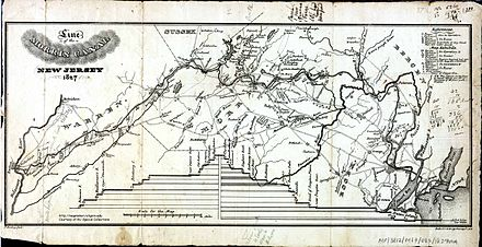 A map of the 107-mile long Morris Canal across northern New Jersey 1827 Morris Canal.jpg