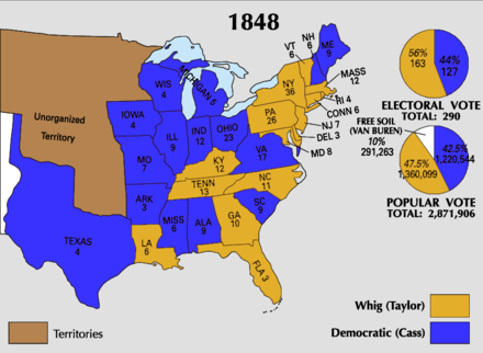 Results of the 1848 presidential election 1848 Electoral Map.png