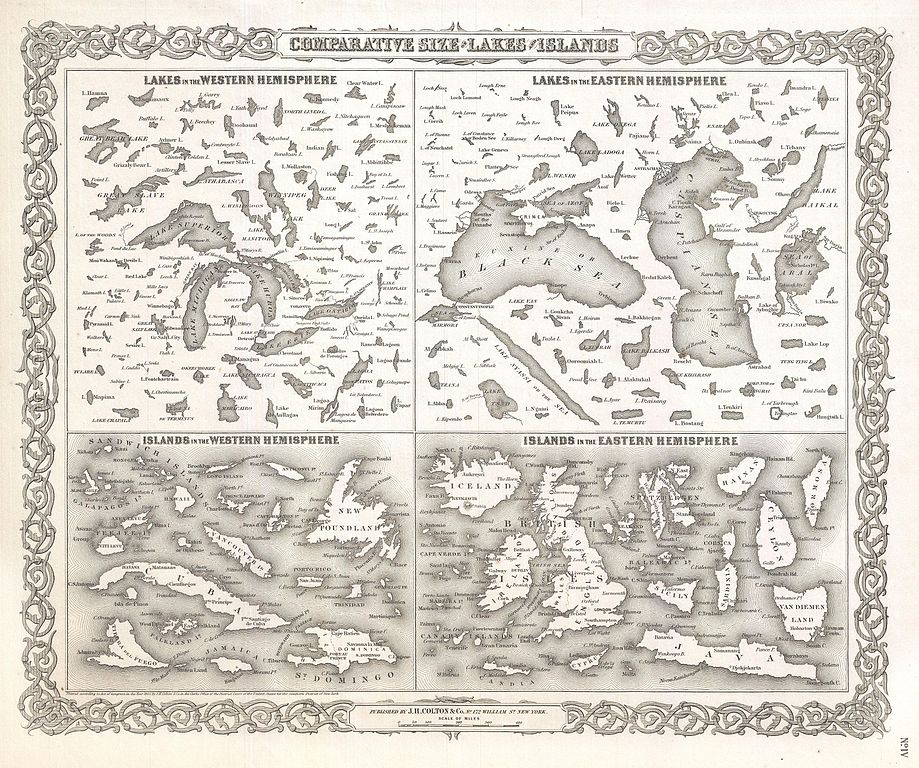 1 100 Number Chart: 1855 Colton Map or Comparative Chart of the World7s Islands ,Chart