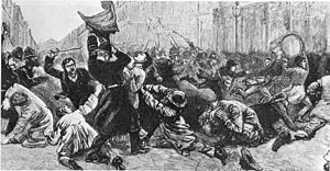 Bloody Sunday (1887) - Bloody Sunday, 1887. This engraving from The Illustrated London News depicts a policeman being clubbed by a demonstrator as he wrests a banner from a female protester
