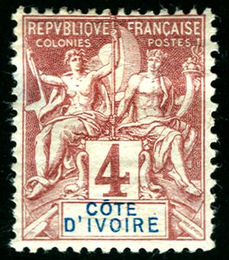 Key type stamp - An 1892 4c stamp for Ivory Coast (Côte d'Ivoire) of the Navigation & Commerce key type series.