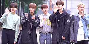 NU'EST in May 2019 From left to right: Ren, JR, Aron, Minhyun, and Baekho