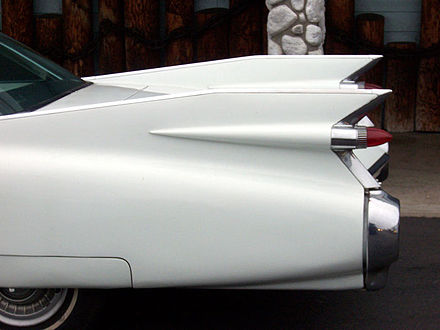 The iconic large tail fins of the 1959 Cadillac 1959 Cadillac fins.jpg