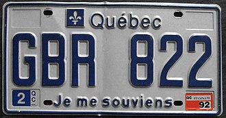 "Je me souviens - Since 1978, the Quebec licence plate has featured the phrase ""Je me souviens"""