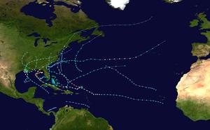 Riassunto della stagione degli uragani atlantici del 1985 map.png