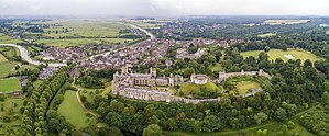 Arundel Castle - Aerial panorama of the castle and its surroundings