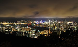 A 2011 panorama of Hong Kong viewed from Sha Tin