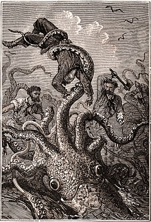 Sea monster - Picture taken from a Hetzel copy of Twenty Thousand Leagues Under the Sea.