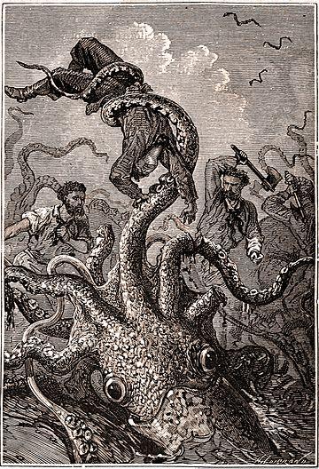 Битва команды «Наутилуса» со спрутами. Иллюстрация к роману Жюля Верна «20 000 льё под водой»