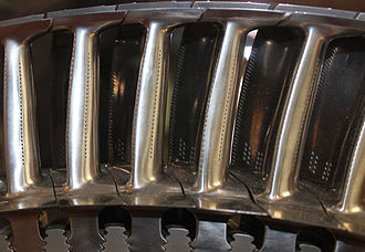 Rolls-Royce Trent - Nickel high pressure turbine blades with cooling holes to operate above their melting point
