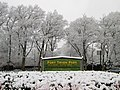 2013 Fort Tryon Park main entrance sign at Margaret Corbin Circle in snow.jpg