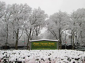 Fort Tryon Park main entrance sign
