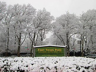 2017 Fort Tryon Park Main Entrance Sign At Margaret Corbin Circle In Snow Jpg