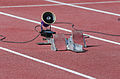 2013 IPC Athletics World Championships - 26072013 - Starting blocks with speaker.jpg