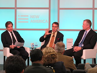 John Nagl - Left to right, Peter Bergen, John Nagl and Daniel R. Green, discussing Nagl's new book, Knife Fights: A Memoir of Modern War in Theory and Practice, at the New America Foundation, 27 October 2014