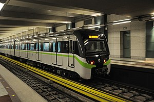 Black & White Train with green stripe