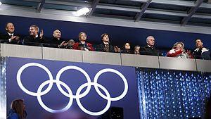 Ban Ki Moon alla cerimonia di apertura delle Olimpiadi inverali di Sochi del 2014