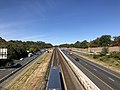 2018-10-25 11 21 40 View west along Interstate 66 (Custis Memorial Parkway) and the Orange and Silver lines of the Washington Metro from the overpass for 25th Street in Arlington County, Virginia.jpg