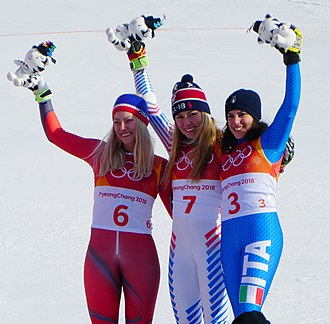 Mikaela Shiffrin - Giant Slalom, Pyeongchang 2018: Ragnhild Mowinckel (silver), Shiffrin (gold) and Federica Brignone (bronze)