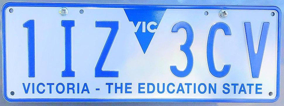 2018 Victoria registration plate 1IZ 3CV The Education State